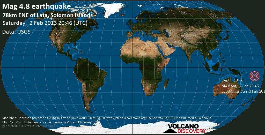 Light mag. 4.8 earthquake  - 78km ENE of Lata, Solomon Islands on Saturday, 2 February 2013
