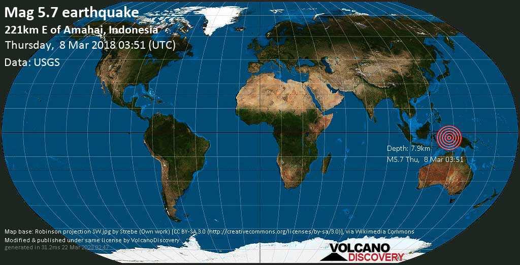 Moderate mag. 5.7 earthquake  - 221km E of Amahai, Indonesia on Thursday, 8 March 2018