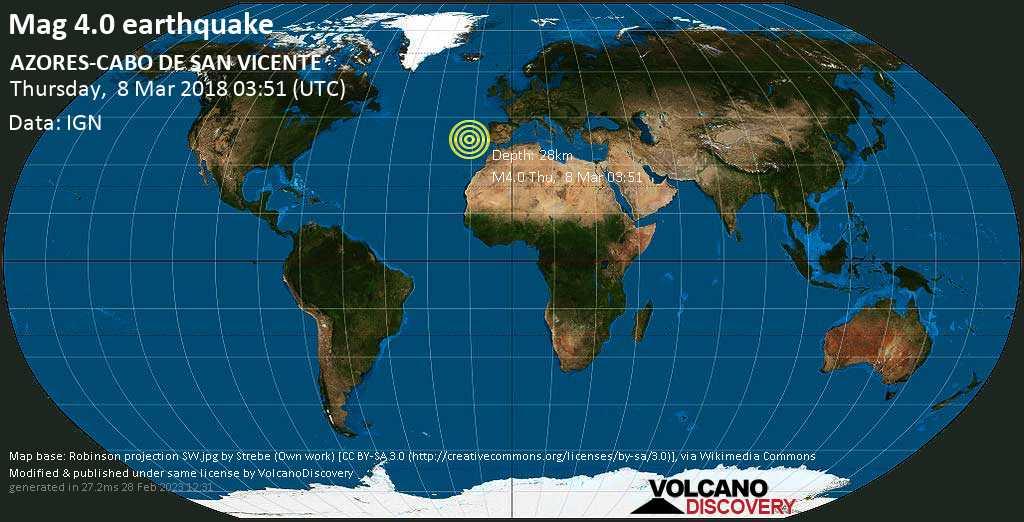 Light mag. 4.0 earthquake  - AZORES-CABO DE SAN VICENTE on Thursday, 8 March 2018