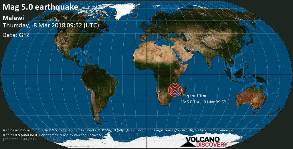 Moderate mag. 5.0 earthquake  - Malawi on Thursday, 8 March 2018