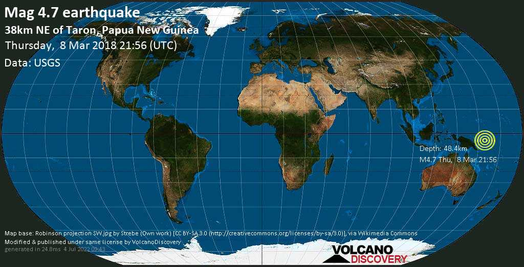 Light mag. 4.7 earthquake  - 38km NE of Taron, Papua New Guinea on Thursday, 8 March 2018
