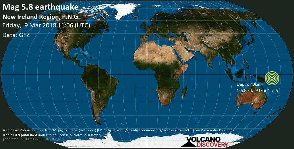 Moderate mag. 5.8 earthquake  - New Ireland Region, P.N.G. on Friday, 9 March 2018