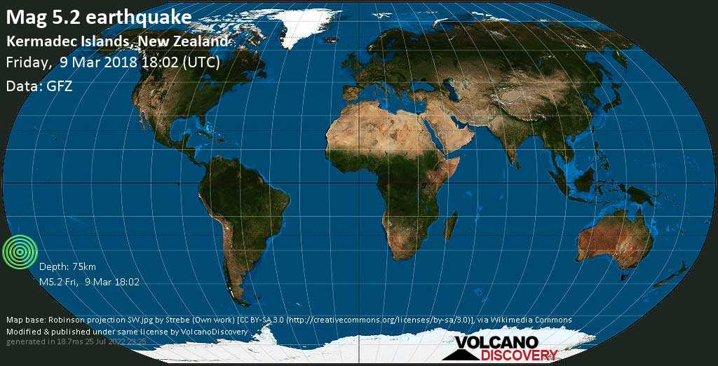Moderate mag. 5.2 earthquake  - Kermadec Islands, New Zealand on Friday, 9 March 2018
