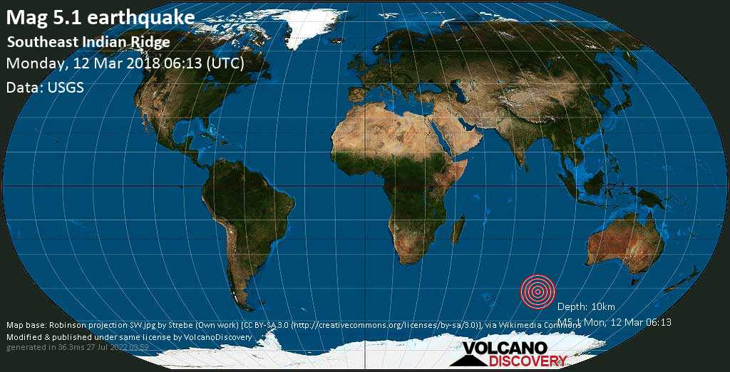 Moderate mag. 5.1 earthquake  - Southeast Indian Ridge on Monday, 12 March 2018