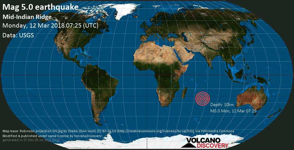 Moderate mag. 5.0 earthquake  - Mid-Indian Ridge on Monday, 12 March 2018