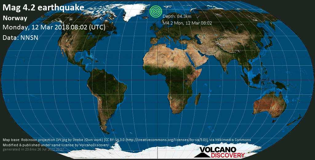 Light mag. 4.2 earthquake  - Norway on Monday, 12 March 2018