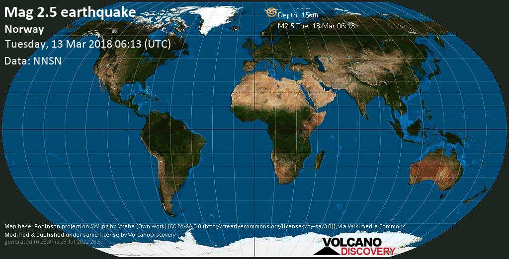Minor mag. 2.5 earthquake  - Norway on Tuesday, 13 March 2018