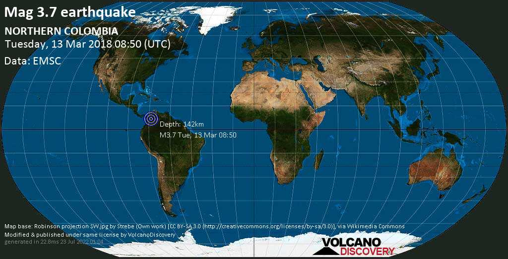Minor mag. 3.7 earthquake  - NORTHERN COLOMBIA on Tuesday, 13 March 2018