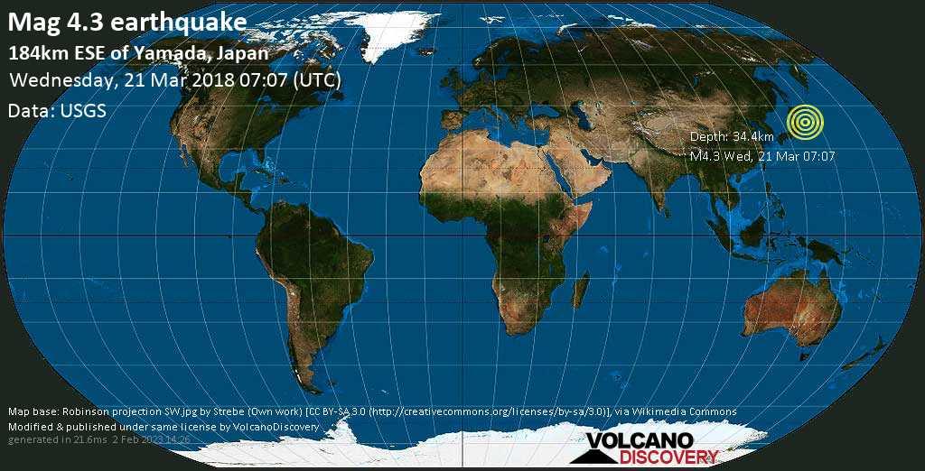Light mag. 4.3 earthquake  - 184km ESE of Yamada, Japan on Wednesday, 21 March 2018