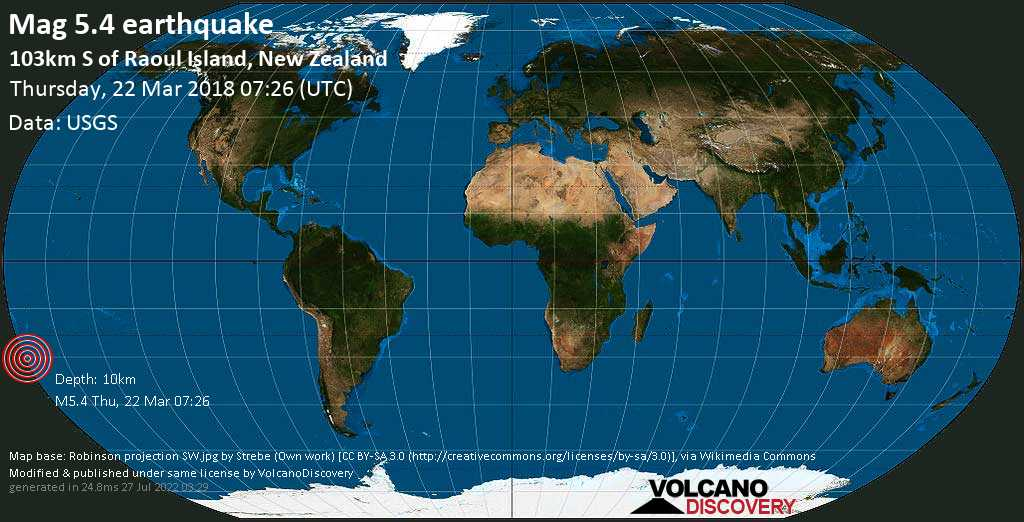 Moderate mag. 5.4 earthquake  - 103km S of Raoul Island, New Zealand on Thursday, 22 March 2018