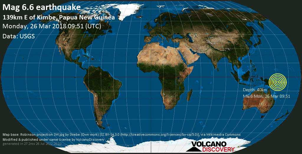 Strong mag. 6.6 earthquake  - 139km E of Kimbe, Papua New Guinea on Monday, 26 March 2018