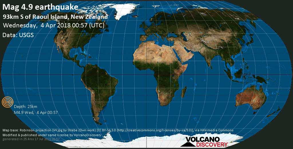 Light mag. 4.9 earthquake  - 93km S of Raoul Island, New Zealand on Wednesday, 4 April 2018