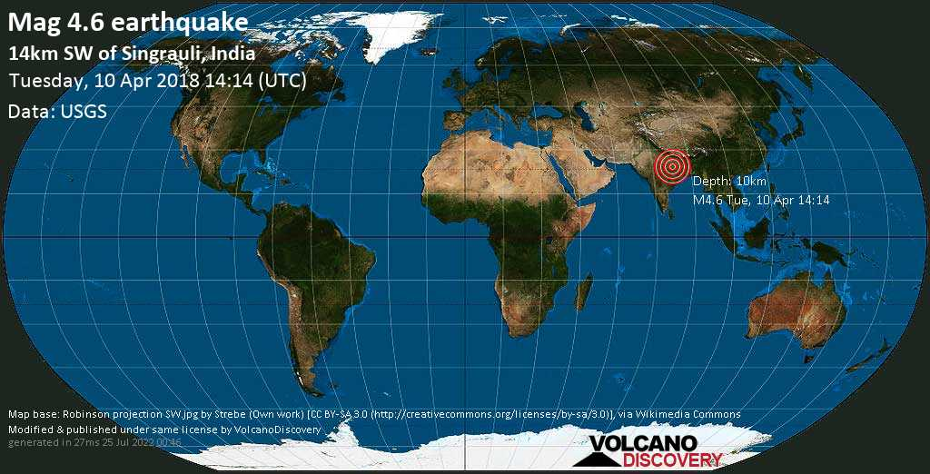 Light mag. 4.6 earthquake  - 14km SW of Singrauli, India on Tuesday, 10 April 2018