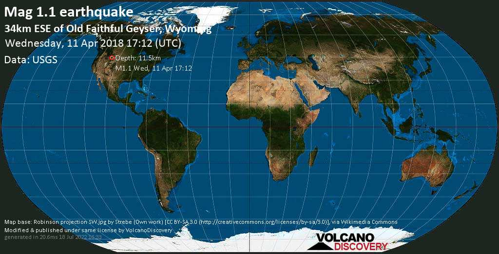 Minor mag. 1.1 earthquake  - 34km ESE of Old Faithful Geyser, Wyoming on Wednesday, 11 April 2018
