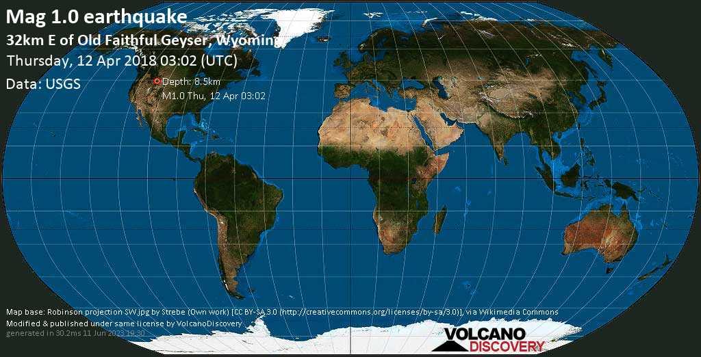Minor mag. 1.0 earthquake  - 32km E of Old Faithful Geyser, Wyoming on Thursday, 12 April 2018