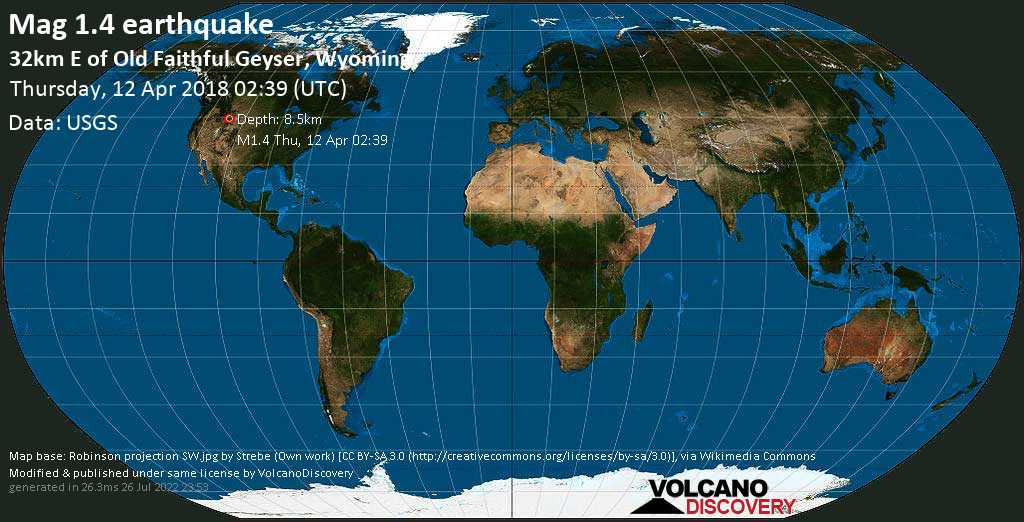 Minor mag. 1.4 earthquake  - 32km E of Old Faithful Geyser, Wyoming on Thursday, 12 April 2018