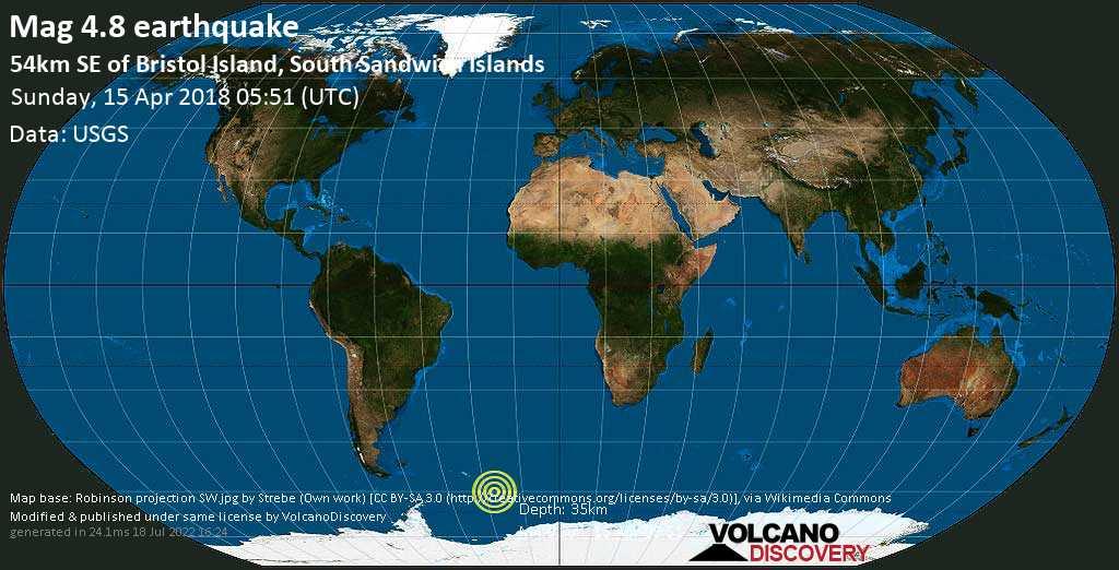 Light mag. 4.8 earthquake  - 54km SE of Bristol Island, South Sandwich Islands on Sunday, 15 April 2018