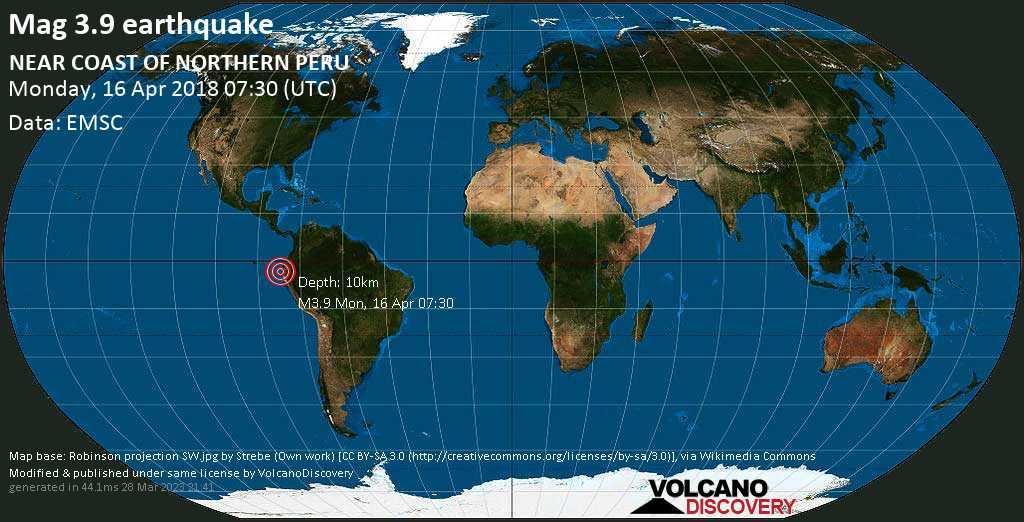Minor mag. 3.9 earthquake  - NEAR COAST OF NORTHERN PERU on Monday, 16 April 2018