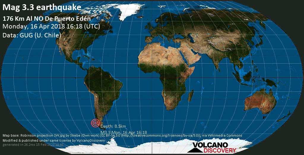 Minor mag. 3.3 earthquake  - 176 km al NO de Puerto Edén on Monday, 16 April 2018