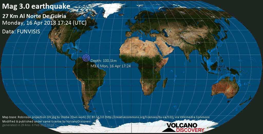 Minor mag. 3.0 earthquake  - 27 Km al norte de Guiria on Monday, 16 April 2018