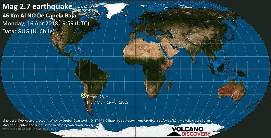 Minor mag. 2.7 earthquake  - 46 km al NO de Canela Baja on Monday, 16 April 2018