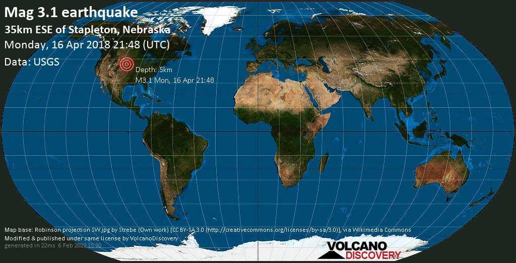 Minor mag. 3.1 earthquake  - 35km ESE of Stapleton, Nebraska on Monday, 16 April 2018