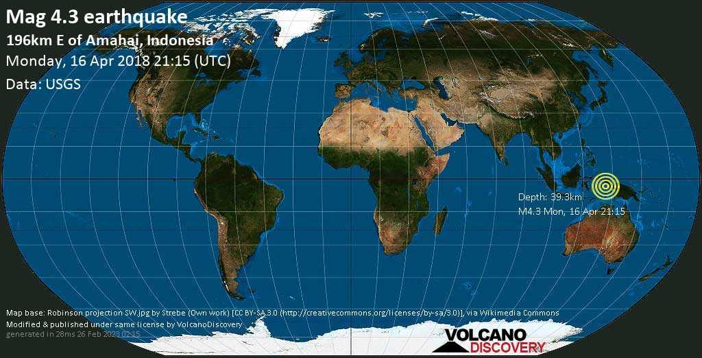 Light mag. 4.3 earthquake  - 196km E of Amahai, Indonesia on Monday, 16 April 2018