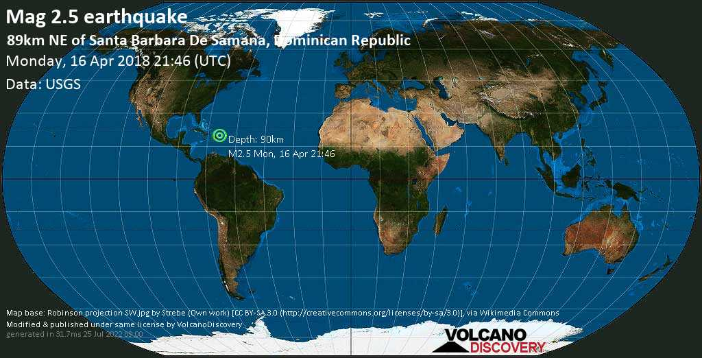 Minor mag. 2.5 earthquake  - 89km NE of Santa Barbara de Samana, Dominican Republic on Monday, 16 April 2018