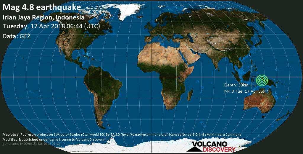 Light mag. 4.8 earthquake  - Irian Jaya Region, Indonesia on Tuesday, 17 April 2018