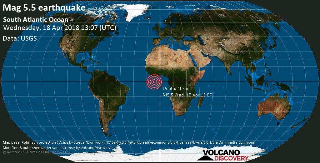 Earthquake info M55 earthquake on Wed 18 Apr 130719 UTC