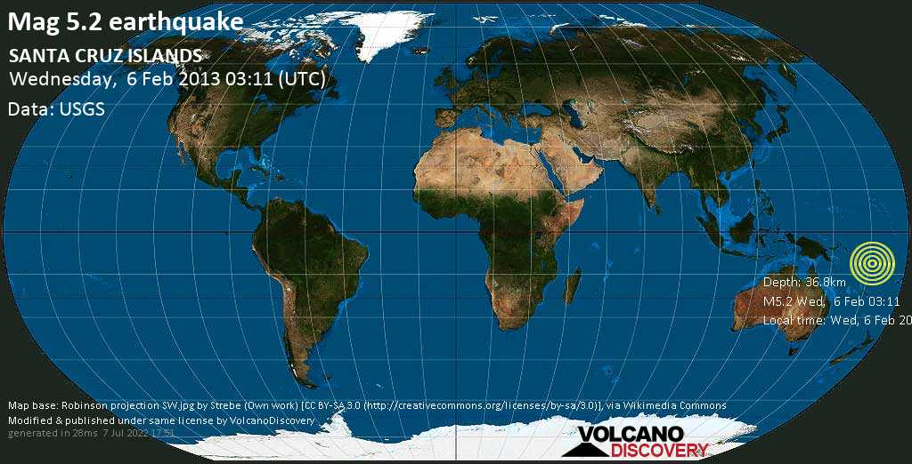 Moderate mag. 5.2 earthquake  - SANTA CRUZ ISLANDS on Wednesday, 6 February 2013