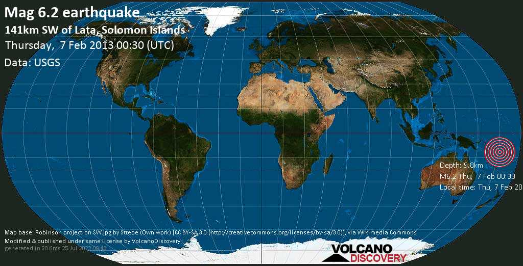 Strong mag. 6.2 earthquake  - 141km SW of Lata, Solomon Islands on Thursday, 7 February 2013