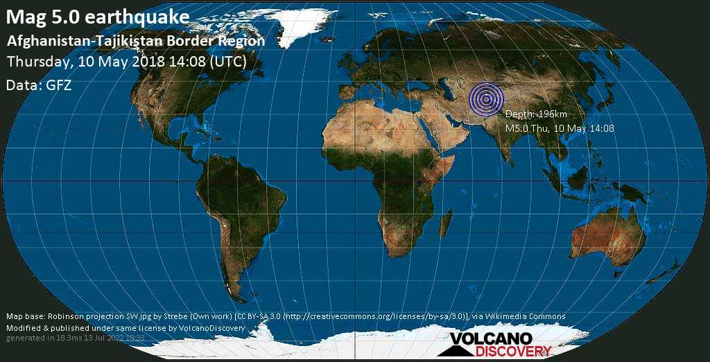 Moderate mag. 5.0 earthquake  - Afghanistan-Tajikistan Border Region on Thursday, 10 May 2018