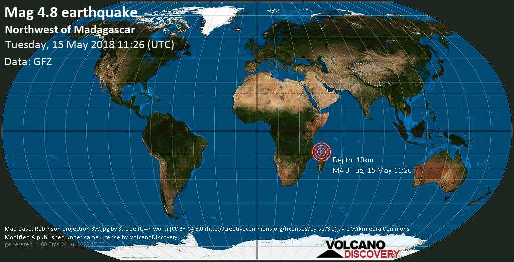 Light mag. 4.8 earthquake  - Northwest of Madagascar on Tuesday, 15 May 2018