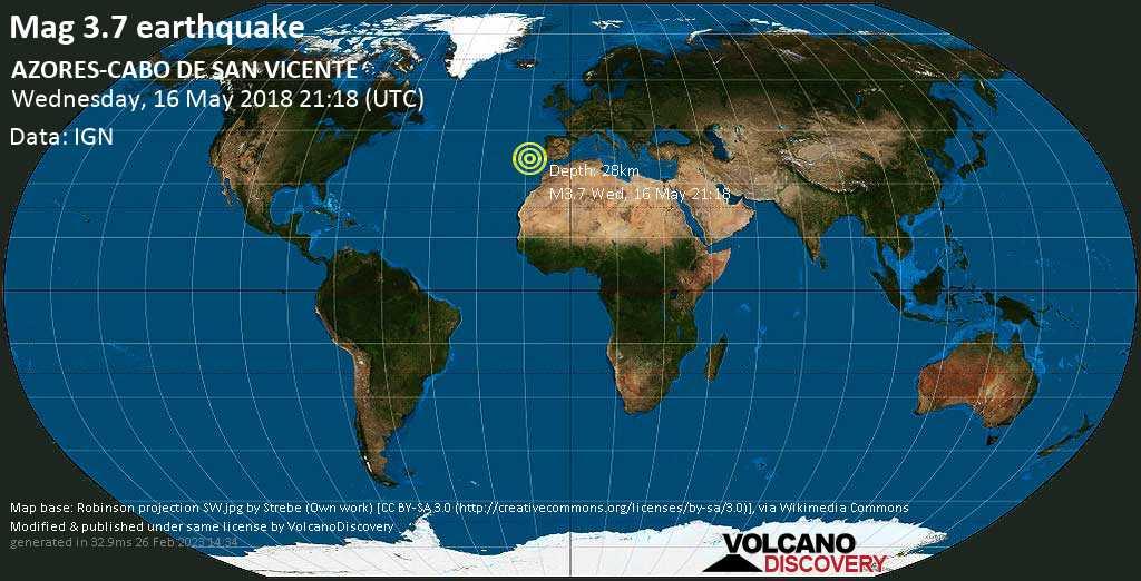 Minor mag. 3.7 earthquake  - AZORES-CABO DE SAN VICENTE on Wednesday, 16 May 2018
