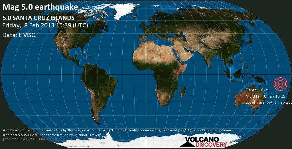 Moderate mag. 5.0 earthquake  - 5.0  SANTA CRUZ ISLANDS on Friday, 8 February 2013
