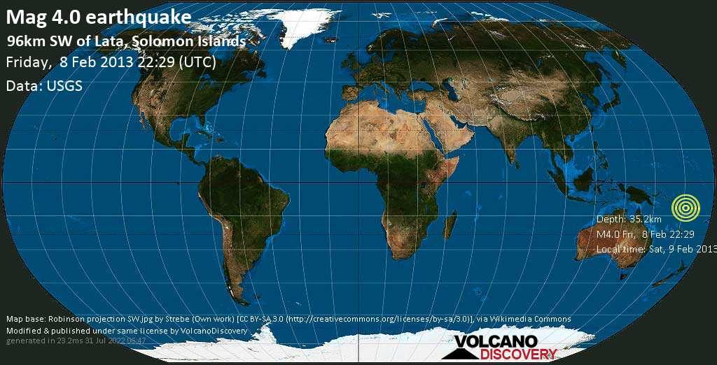 Light mag. 4.0 earthquake  - 96km SW of Lata, Solomon Islands on Friday, 8 February 2013