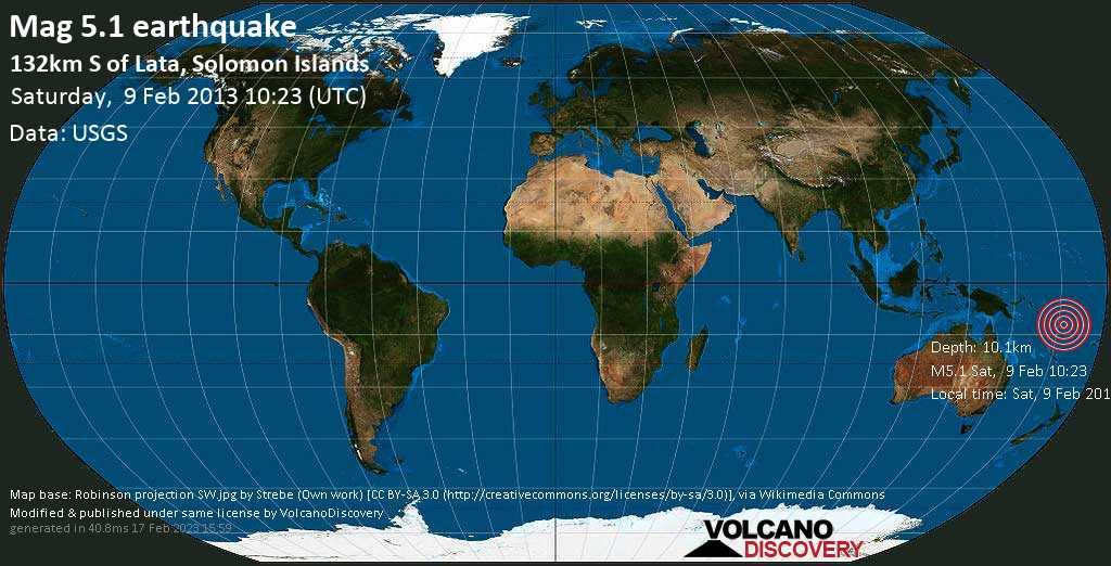 Moderate mag. 5.1 earthquake  - 132km S of Lata, Solomon Islands on Saturday, 9 February 2013