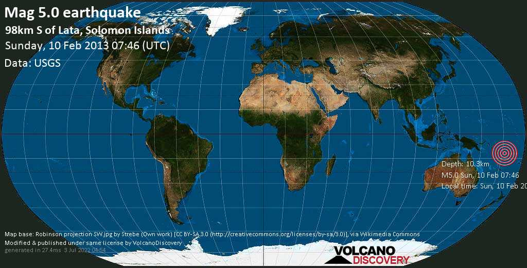 Moderate mag. 5.0 earthquake  - 98km S of Lata, Solomon Islands on Sunday, 10 February 2013