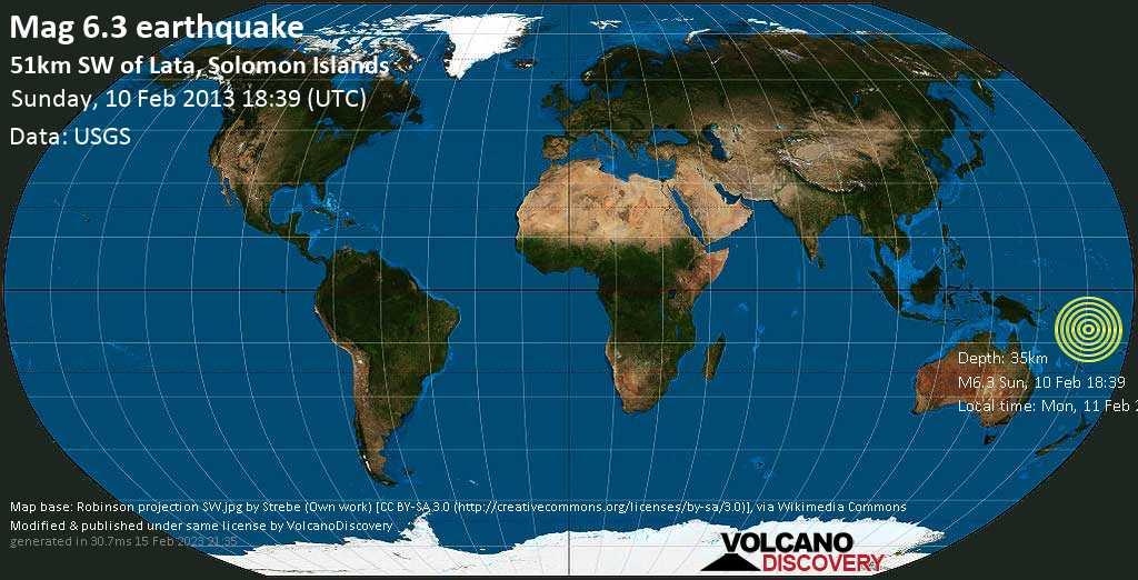 Strong mag. 6.3 earthquake  - 51km SW of Lata, Solomon Islands on Sunday, 10 February 2013