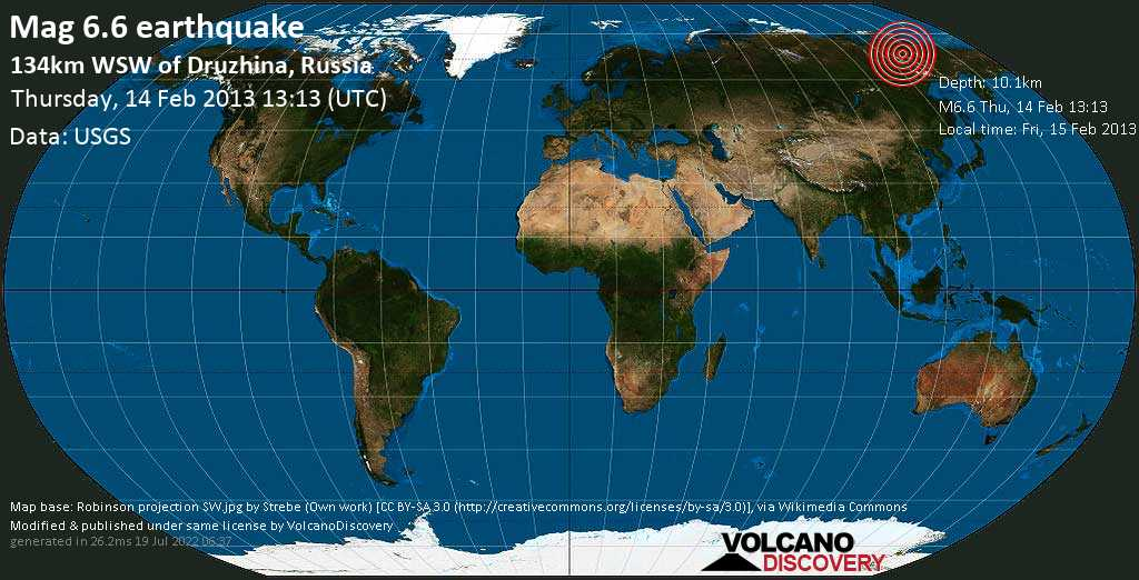 Strong mag. 6.6 earthquake  - 134km WSW of Druzhina, Russia on Thursday, 14 February 2013