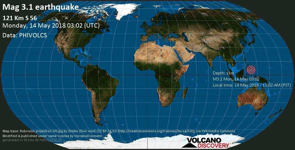 Minor mag. 3.1 earthquake  - 121 km S 56 on Monday, 14 May 2018