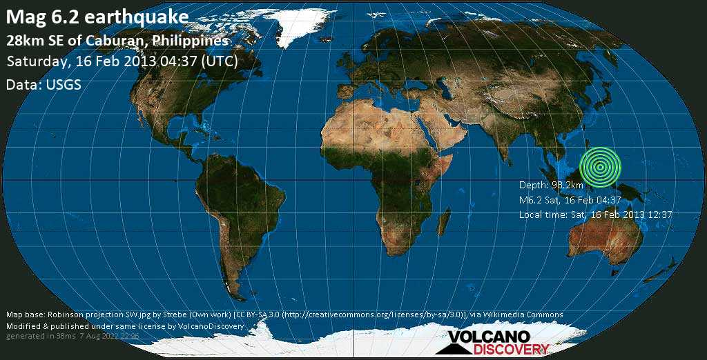 Strong mag. 6.2 earthquake  - 28km SE of Caburan, Philippines on Saturday, 16 February 2013