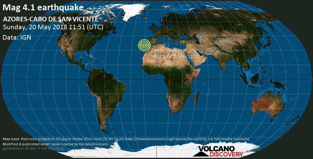 Light mag. 4.1 earthquake  - AZORES-CABO DE SAN VICENTE on Sunday, 20 May 2018