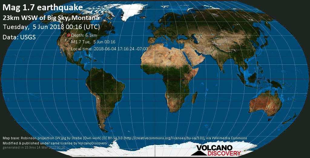 Earthquake info : M1 7 earthquake on Tue, 5 Jun 00:16:24 UTC