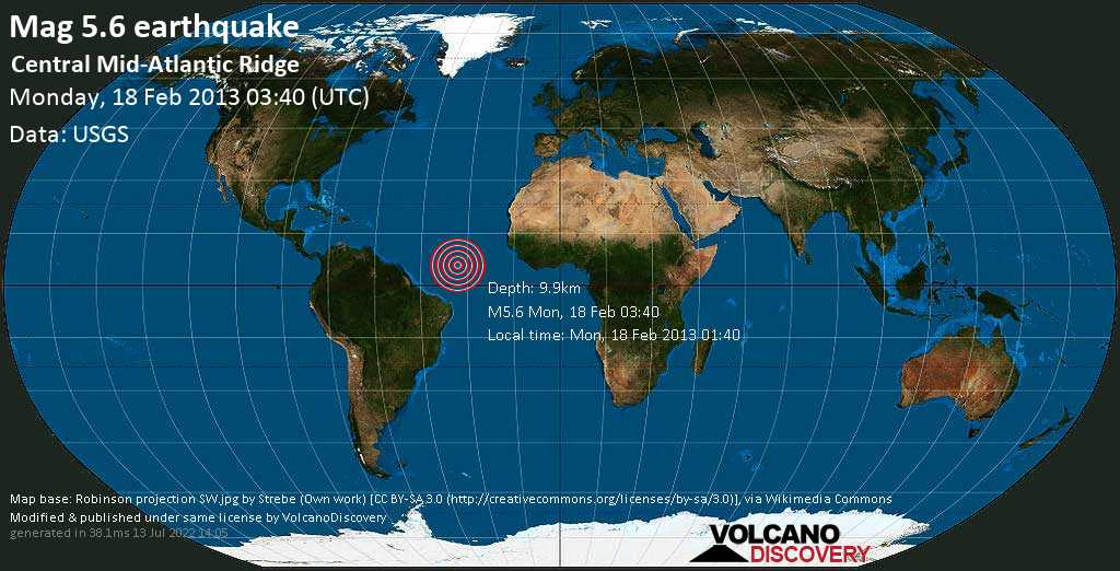 Moderate mag. 5.6 earthquake  - Central Mid-Atlantic Ridge on Monday, 18 February 2013