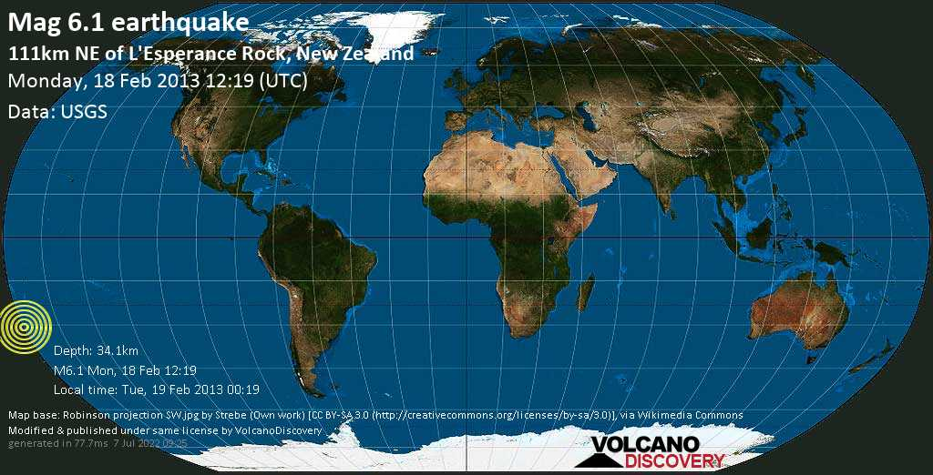 Strong mag. 6.1 earthquake  - 111km NE of L\'Esperance Rock, New Zealand on Monday, 18 February 2013