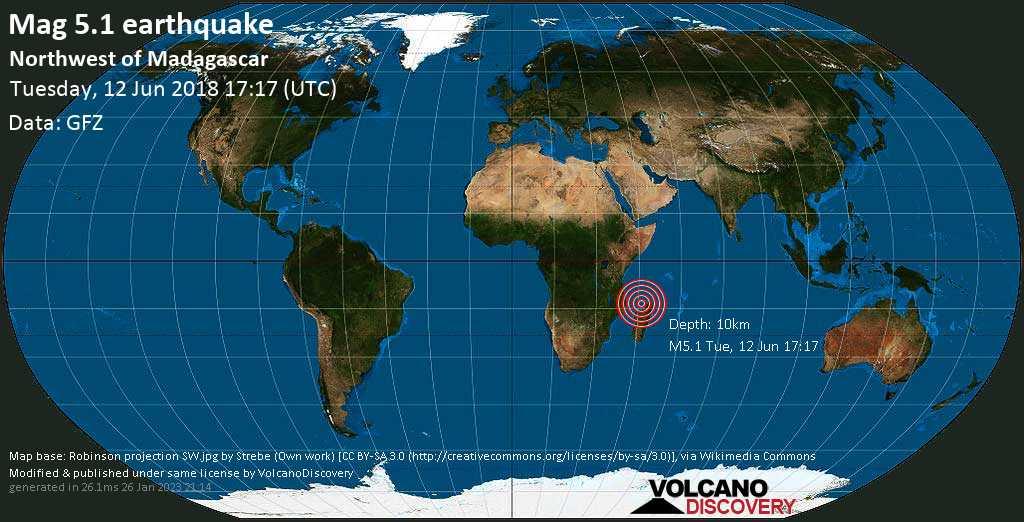 Moderate mag. 5.1 earthquake  - Northwest of Madagascar on Tuesday, 12 June 2018
