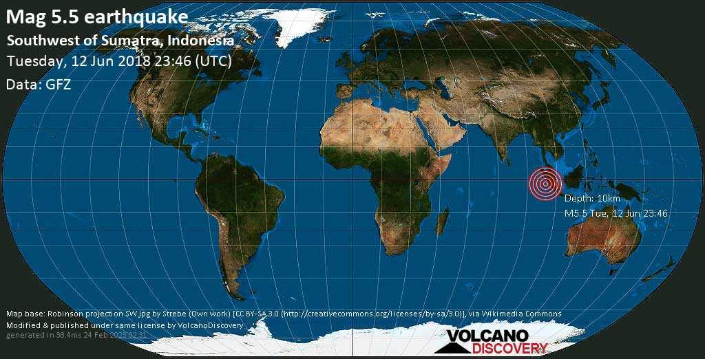 Moderate mag. 5.5 earthquake  - Southwest of Sumatra, Indonesia on Tuesday, 12 June 2018