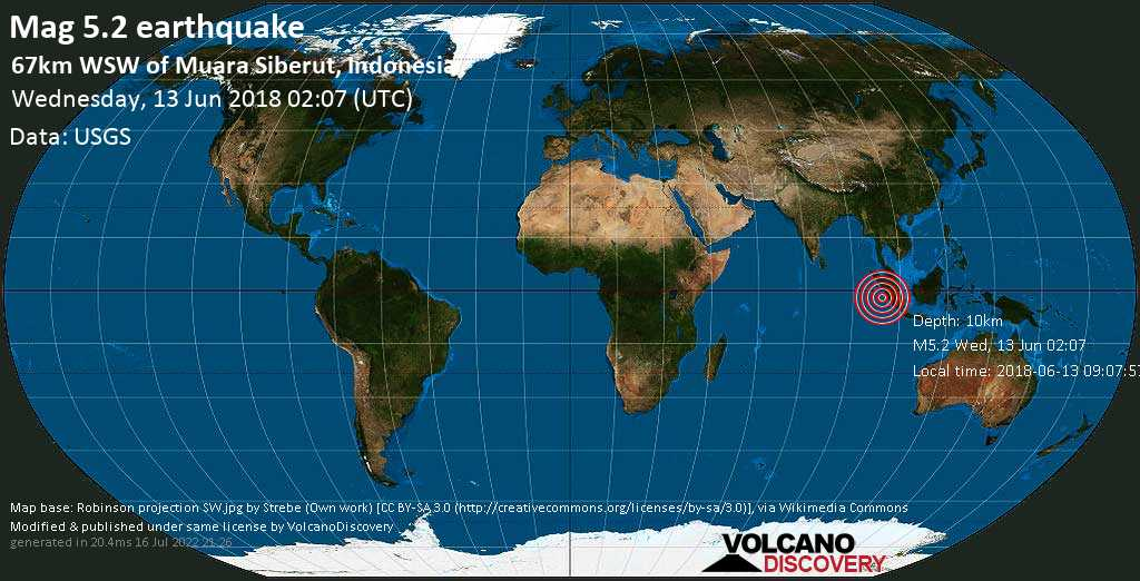 Moderate mag. 5.2 earthquake  - 67km WSW of Muara Siberut, Indonesia on Wednesday, 13 June 2018